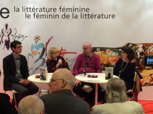 """La standul României de la """"Salon du livre"""" de la Paris - împreună cu Sylvain Audet, jurnalista Cristina Hermeziu și editoarea Danielle Nees"""